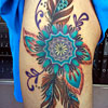Colorful mandala and feathers