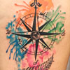 Watercolor compass tattoo